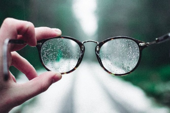 glasses on a rainy day that needs vision correction