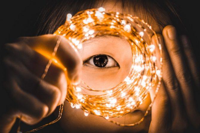 focused view of an eye